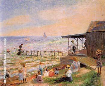 Beach Side 1913 Painting By William Glackens - Reproduction Gallery