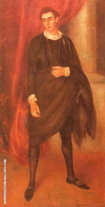 Portrait of Walter Hampden as Hamlet 1919 By William Glackens