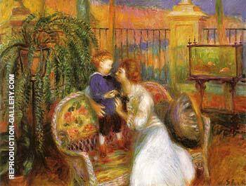 Reproduction of The Conservatory Lenna and Her Mother in the Conservatory 1917 by William Glackens | Oil Painting Replica On CanvasReproduction Gallery