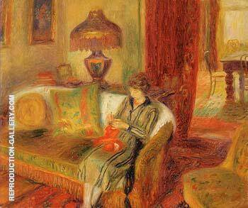 The Artist s Wife Knitting 1920 By William Glackens - Oil Paintings & Art Reproductions - Reproduction Gallery