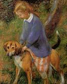Lenna With Rabbit Hound 1922 By William Glackens