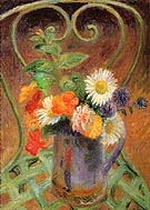 Flowers on a Gardan Chair 1925 By William Glackens