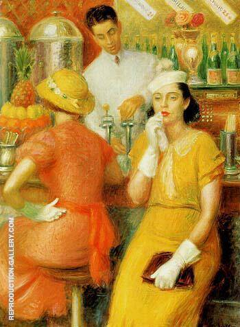 The Soda Fountain 1935 By William Glackens - Oil Paintings & Art Reproductions - Reproduction Gallery