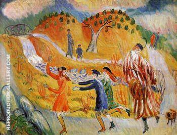 Children Roller Skating After 1913 Painting By William Glackens