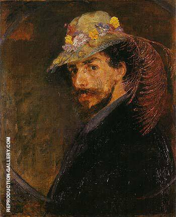 Ensor with Flowered Hat By James Ensor - Oil Paintings & Art Reproductions - Reproduction Gallery