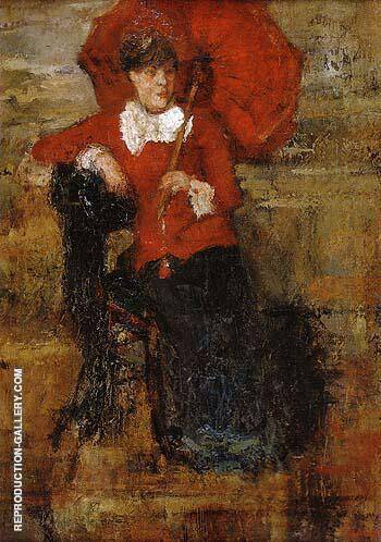 The Lady with the Red Parasol 1880 By James Ensor Replica Paintings on Canvas - Reproduction Gallery