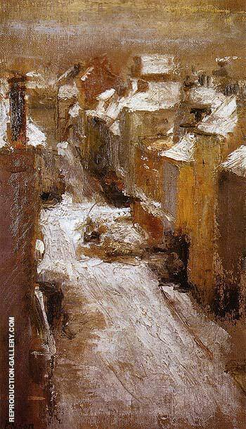 Rue de Flandre in the Snow 1881 By James Ensor Replica Paintings on Canvas - Reproduction Gallery