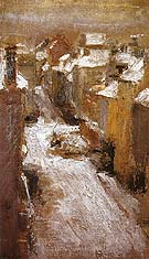 Rue de Flandre in the Snow 1881 By James Ensor