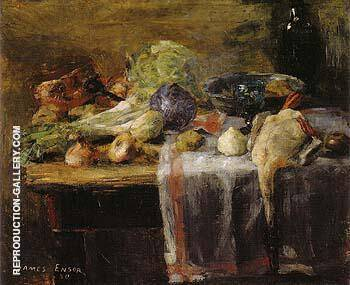 Still Life with Duck 1880 By James Ensor Replica Paintings on Canvas - Reproduction Gallery