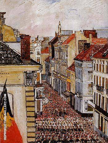 Music in the Rue de Flandre 1891 By James Ensor Replica Paintings on Canvas - Reproduction Gallery