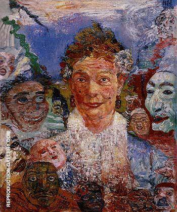 Old Woman with Masks 1889 Painting By James Ensor - Reproduction Gallery
