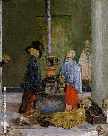 Skeletons Trying to Warm Themselves 1889 By James Ensor - Oil Paintings & Art Reproductions - Reproduction Gallery