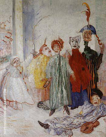Reproduction of The Strange Masks 1892 by James Ensor | Oil Painting Replica On CanvasReproduction Gallery