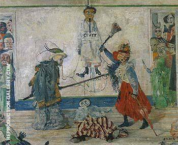 Maksk Fighting overa Hanged Man 1891 By James Ensor - Oil Paintings & Art Reproductions - Reproduction Gallery