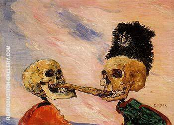 Skeletons Fighting Over a Pickled Herring 1891 By James Ensor Replica Paintings on Canvas - Reproduction Gallery