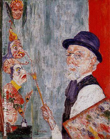 Self Portrait with Masks 1937 By James Ensor Replica Paintings on Canvas - Reproduction Gallery