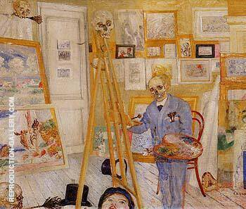 Reproduction of The Skeleton Painter 1896 by James Ensor | Oil Painting Replica On CanvasReproduction Gallery