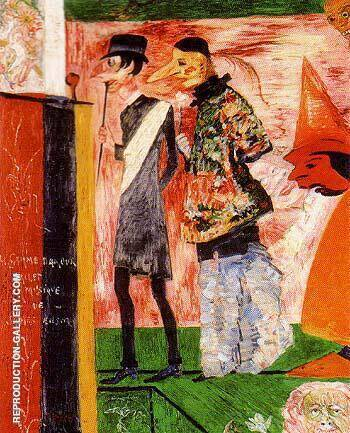 Figures in Front fo the Playbill of La Ganne d Amour By James Ensor