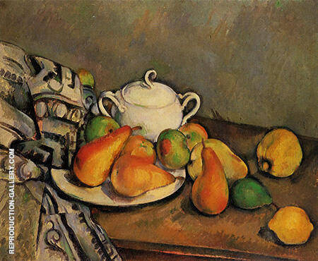 Reproduction of Sugar Bowl, Pears and Rug 1888 by Paul Cezanne | Oil Painting Replica On CanvasReproduction Gallery
