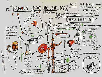 Dog Leg Study Painting By Jean-Michel-Basquiat - Reproduction Gallery