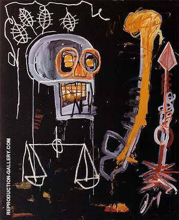 Untitled Black Skull 1982 By Jean-Michel-Basquiat Replica Paintings on Canvas - Reproduction Gallery