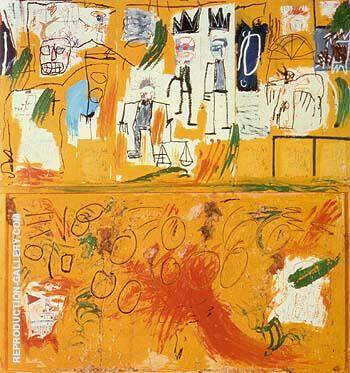 Untitled Yellow Tar and Feathers 1982 By Jean-Michel-Basquiat Replica Paintings on Canvas - Reproduction Gallery
