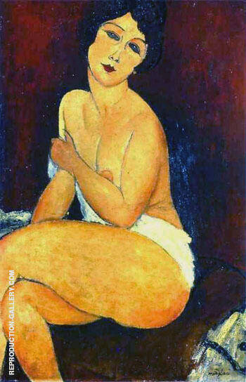 Seated Nude on Divan 1917 By Amedeo Modigliani - Oil Paintings & Art Reproductions - Reproduction Gallery