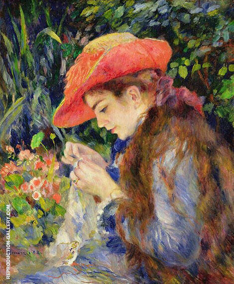 Marie Therese Durand Ruel Sewing 1882 By Pierre Auguste Renoir