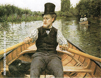 Boatman in Top Hat  c1877 By Gustave Caillebotte Replica Paintings on Canvas - Reproduction Gallery