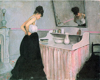 Woman at a Dressing Table  c1873 By Gustave Caillebotte - Oil Paintings & Art Reproductions - Reproduction Gallery