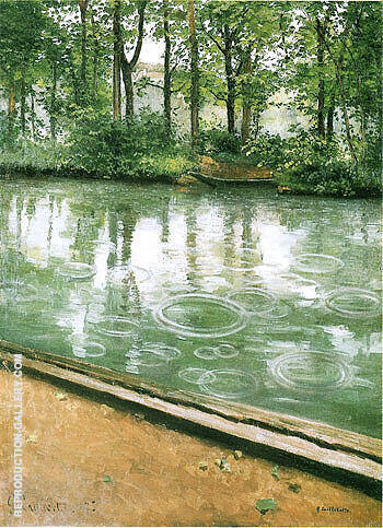 River Bank in the Rain  c 1885 By Gustave Caillebotte - Oil Paintings & Art Reproductions - Reproduction Gallery