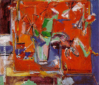 Red Table and Vase of Flowers 1942 By Hans Hofmann Replica Paintings on Canvas - Reproduction Gallery