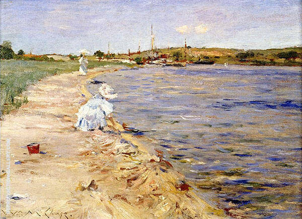 Beach Scene Morning at Canoe Place c1896 Painting By William Merritt Chase