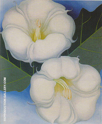 Reproduction of Two Jimson Weed with Green Leaves and Blue Sky 1958 by Georgia O'Keeffe | Oil Painting Replica On CanvasReproduction Gallery