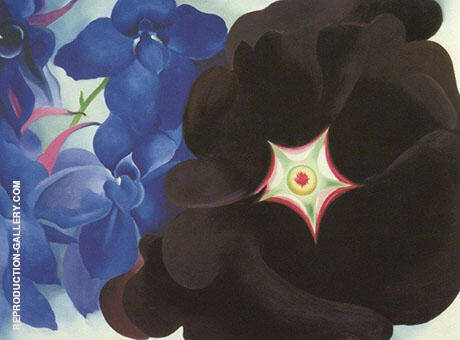 Black Flower and Blue Larkspur 1930 By Georgia O'Keeffe - Oil Paintings & Art Reproductions - Reproduction Gallery