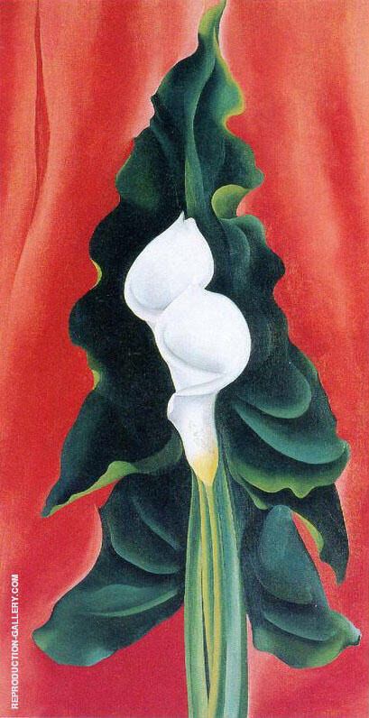 Calla Lilies on Red 1928 By Georgia O'Keeffe