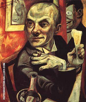 Self Portrait with Champagne Glass 1919 By Max Beckmann