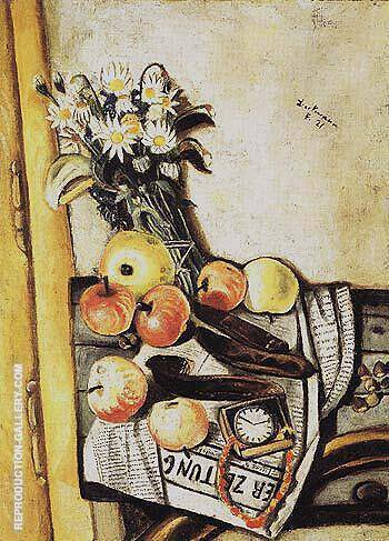 Still Life with Marguerites 1921 By Max Beckmann