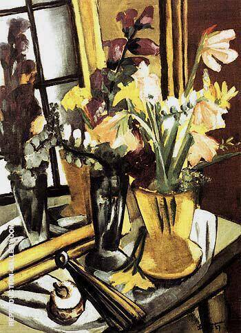 Self Portrait of Flowers with Mirror 1927 Painting By Max Beckmann