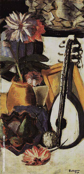 Still Life with Violet Dahlias By Max Beckmann