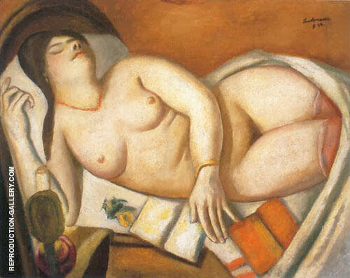 Reproduction of Sleeping Woman 1924 by Max Beckmann | Oil Painting Replica On CanvasReproduction Gallery