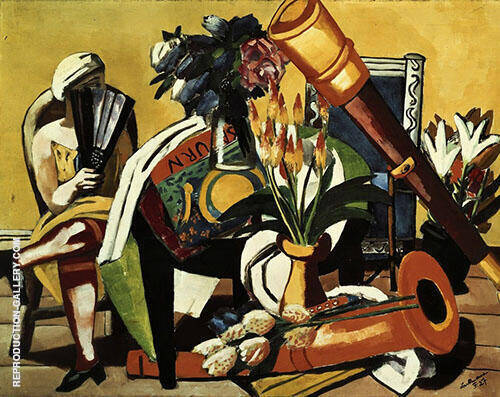 Reproduction of Large Still Life with Telescope 1927 by Max Beckmann | Oil Painting Replica On CanvasReproduction Gallery