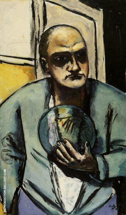 Self Portrait with Crystal Ball 1936 By Max Beckmann - Oil Paintings & Art Reproductions - Reproduction Gallery