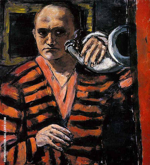 Self Portrait with Horn 1938 By Max Beckmann