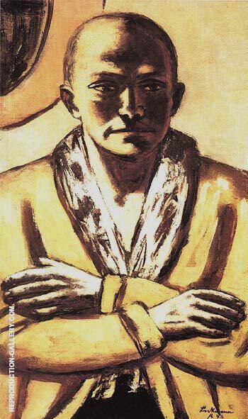Self Portrait in Yellow and Pink 1943 By Max Beckmann - Oil Paintings & Art Reproductions - Reproduction Gallery