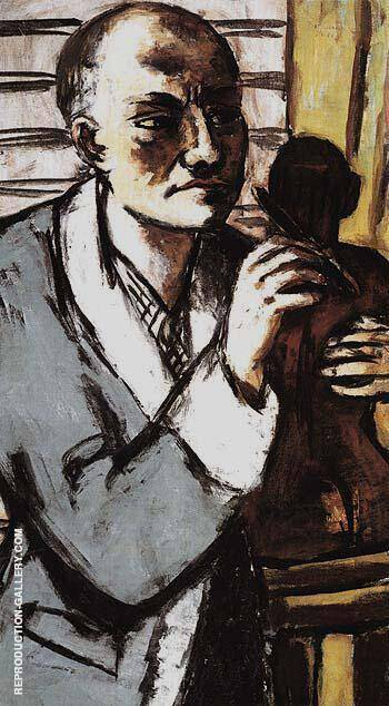 Self Portrait in Grey Robe 1941 Painting By Max Beckmann