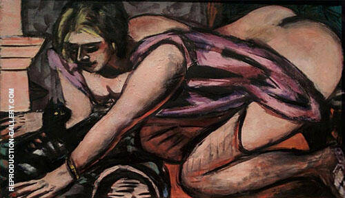 Semi Nude with Cat 1945 By Max Beckmann
