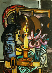 Woman in Front of a Mirror with Orchids 1947 By Max Beckmann