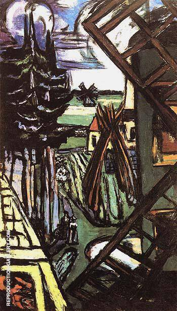 Large Laren LandScape with Windmill 1946 By Max Beckmann