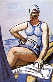 Quappi in Blue in a Boat By Max Beckmann